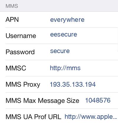 TPO Mobile 2 MMS APN settings for iOS screenshot