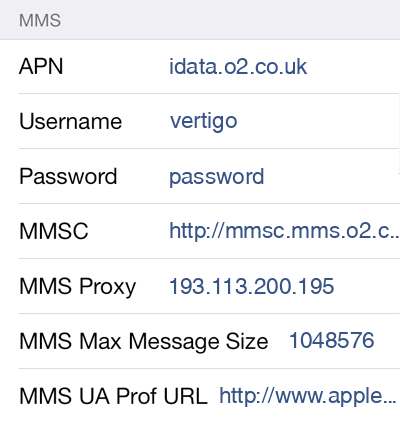 O2 2 MMS APN settings for iOS screenshot