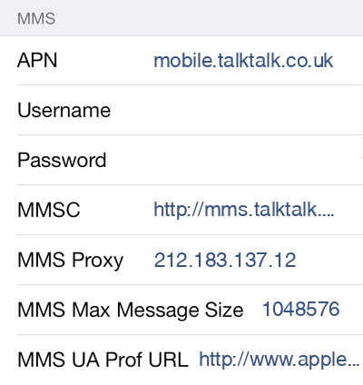 TalkTalk 2 MMS APN settings for iOS screenshot