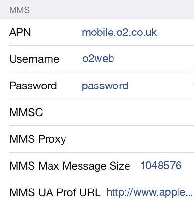 O2 1 MMS APN settings for iOS screenshot