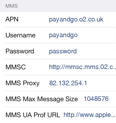 O2 3 MMS APN settings for iOS screenshot