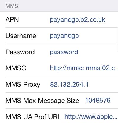 O2 3 MMS APN settings for iOS screenshot