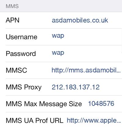 Asda Mobile 2 MMS APN settings for iOS screenshot