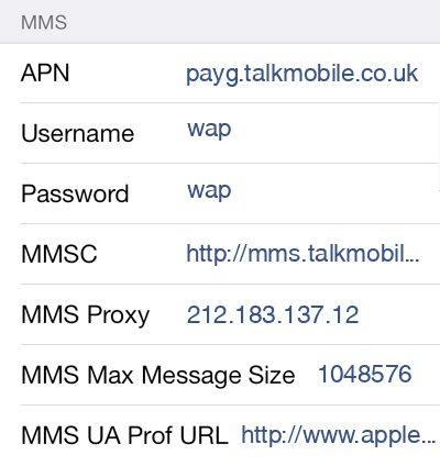 TalkMobile 2 MMS APN settings for iOS screenshot