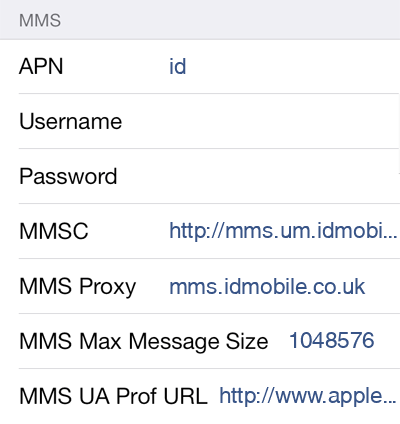 iD Mobile 2 MMS APN settings for iOS screenshot