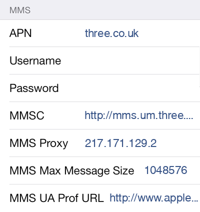 3 2 MMS APN settings for iOS screenshot