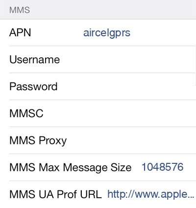 Aircel 1 MMS APN settings for iOS screenshot