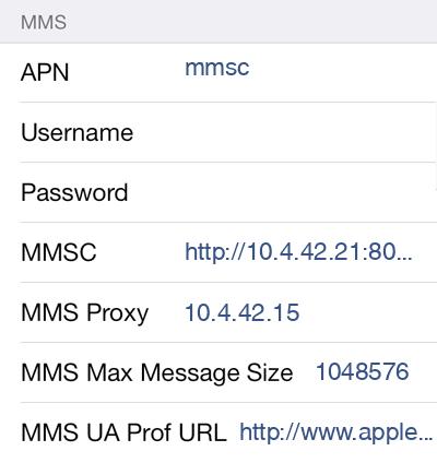 Idea 3 MMS APN settings for iOS screenshot