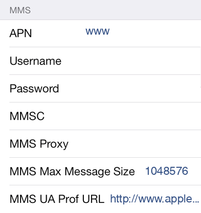 Vodafone 1 MMS APN settings for iOS screenshot