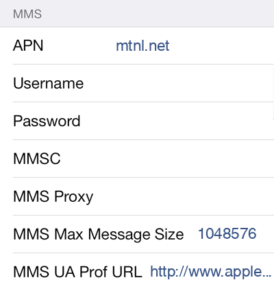 MTNL 1 MMS APN settings for iOS screenshot