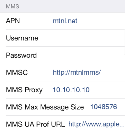 MTNL 3 MMS APN settings for iOS screenshot