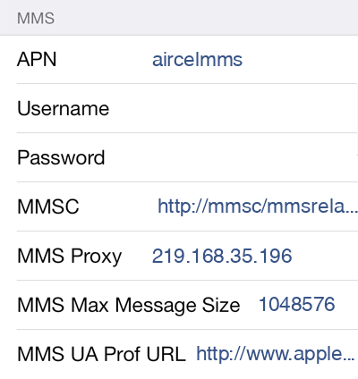 Aircel 3 MMS APN settings for iOS screenshot