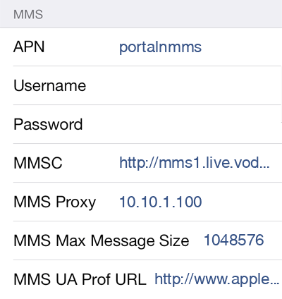 Vodafone 2 MMS APN settings for iOS screenshot