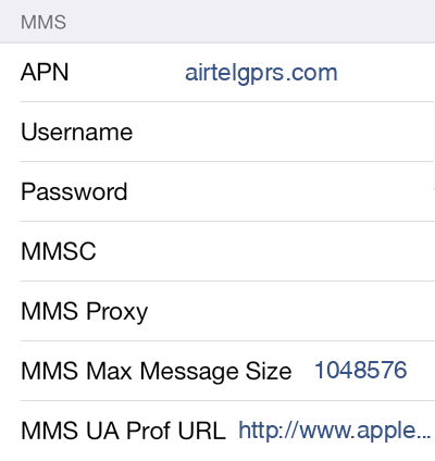 Airtel 1 MMS APN settings for iOS screenshot