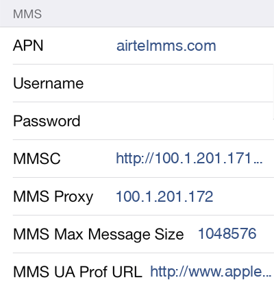 Airtel 3 MMS APN settings for iOS screenshot