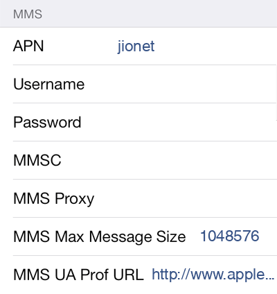 Jio 1 MMS APN settings for iOS screenshot