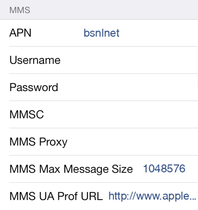 BSNL 1 MMS APN settings for iOS screenshot