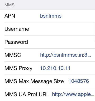 BSNL 3 MMS APN settings for iOS screenshot