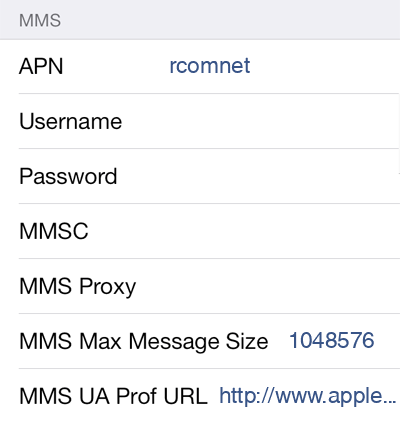 Reliance 1 MMS APN settings for iOS screenshot