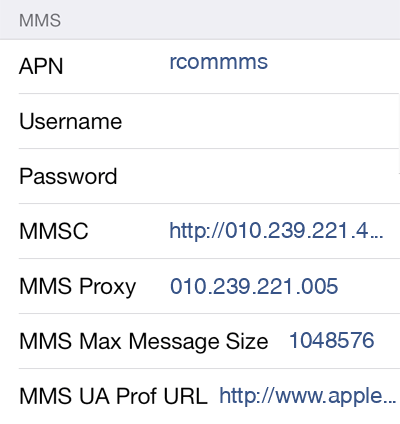 Reliance 3 MMS APN settings for iOS screenshot