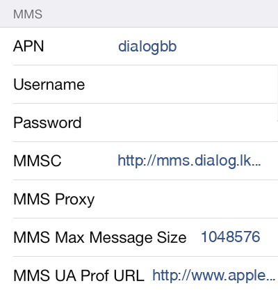 Dialog 2 MMS APN settings for iOS screenshot