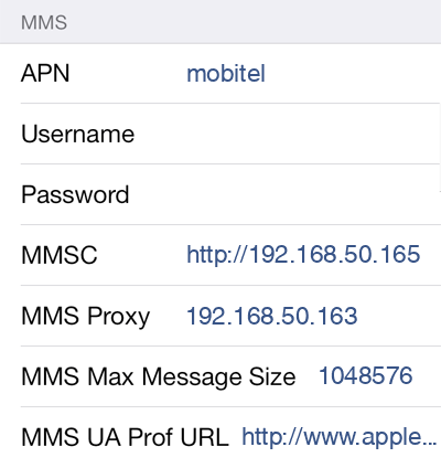Mobitel 2 MMS APN settings for iOS screenshot
