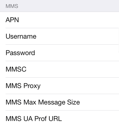Etisalat 1 MMS APN settings for iOS screenshot