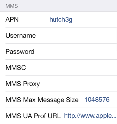 Hutch 1 MMS APN settings for iOS screenshot