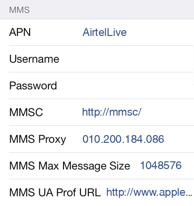 Airtel 2 MMS APN settings for iOS screenshot
