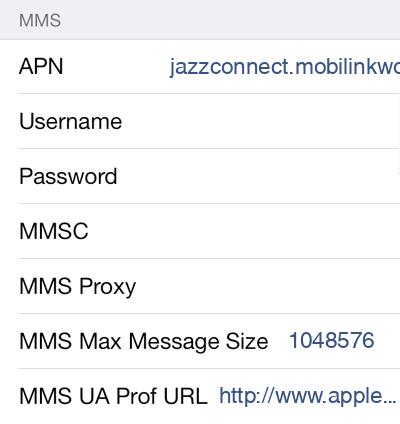 Jazz 1 MMS APN settings for iOS screenshot