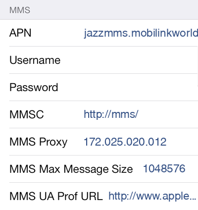 Jazz 3 MMS APN settings for iOS screenshot