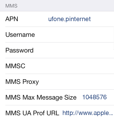 Ufone 1 MMS APN settings for iOS screenshot
