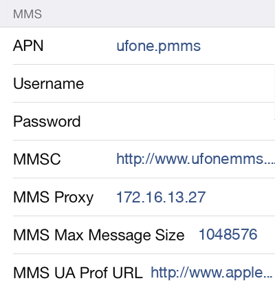 Ufone 3 MMS APN settings for iOS screenshot