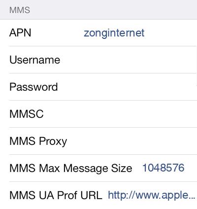 Zong 1 MMS APN settings for iOS screenshot