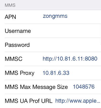 Zong 3 MMS APN settings for iOS screenshot