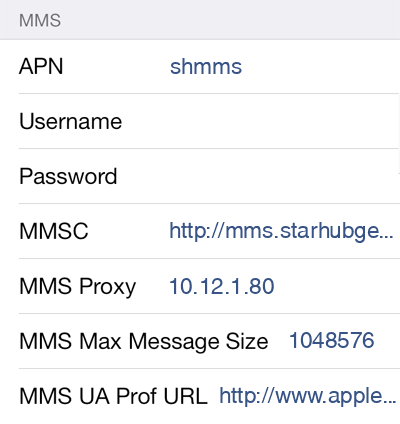 Starhub 3 MMS APN settings for iOS screenshot