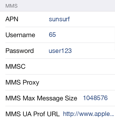 M1 1 MMS APN settings for iOS screenshot