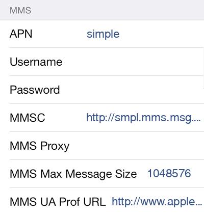 Simple Mobile 2 MMS APN settings for iOS screenshot