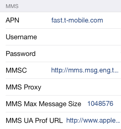 T-Mobile 2 MMS APN settings for iOS screenshot