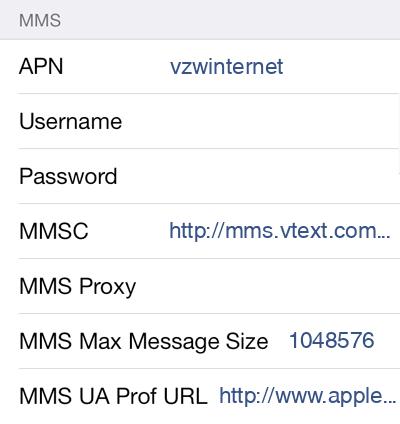 Verizon 2 MMS APN settings for iOS screenshot