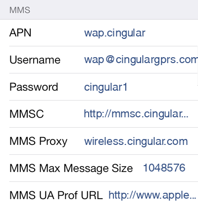 Cingular  2 MMS APN settings for iOS screenshot