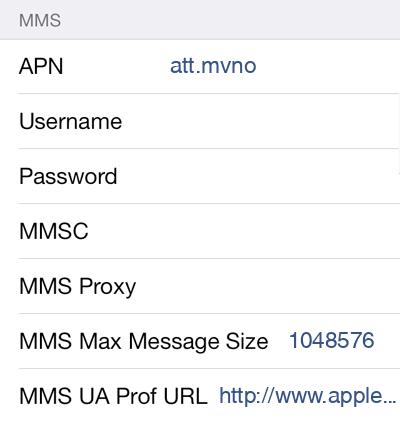 Jolt Mobile  1 MMS APN settings for iOS screenshot