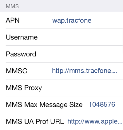 Straight Talk 2 MMS APN settings for iOS screenshot