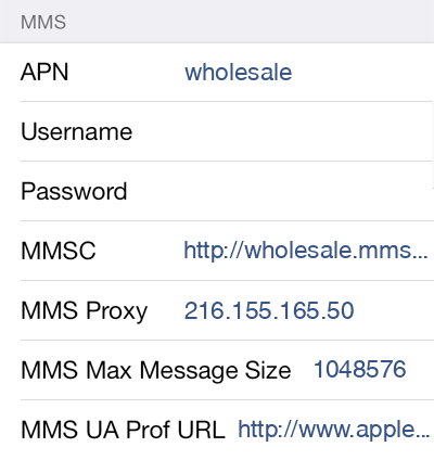Red Pocket Mobile 2 MMS APN settings for iOS screenshot