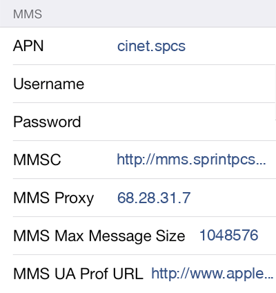Sprint 3 MMS APN settings for iOS screenshot