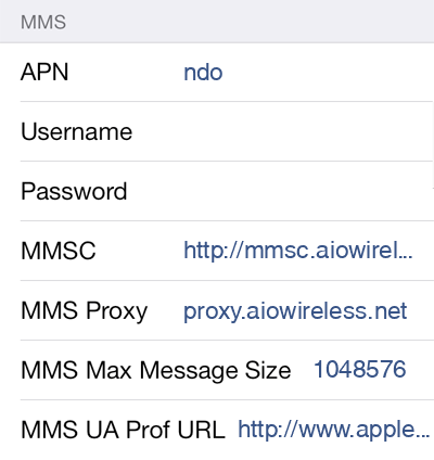 Cricket 2 MMS APN settings for iOS screenshot