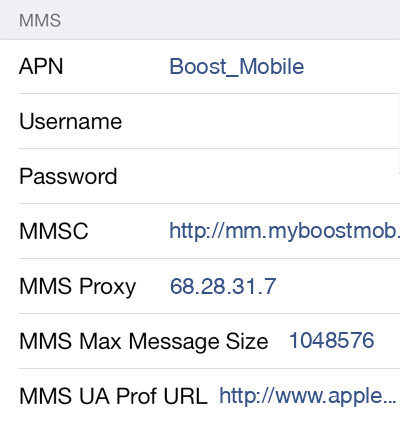 Boost Mobile 2 MMS APN settings for iOS screenshot