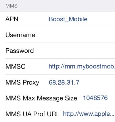 Boost Mobile 2 MMS APN settings for iOS screenshot