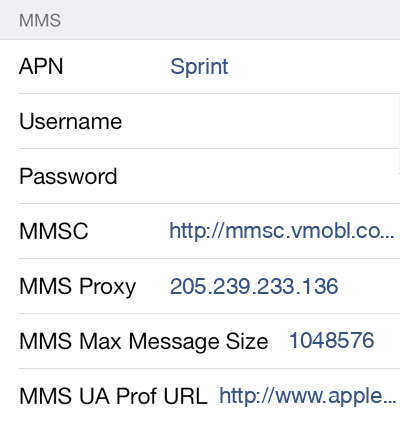 Virgin 2 MMS APN settings for iOS screenshot