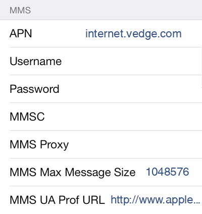 Viaero 1 MMS APN settings for iOS screenshot